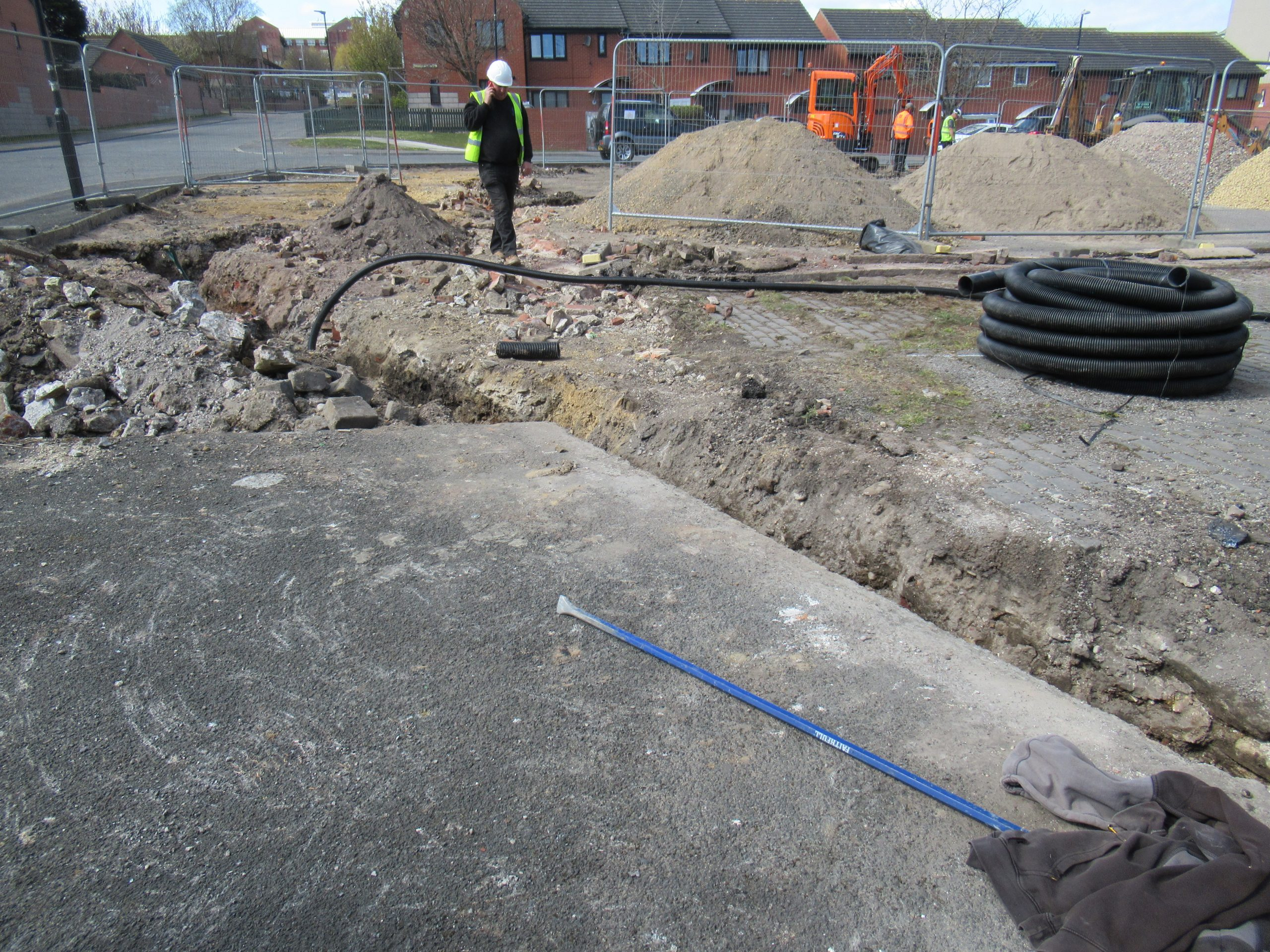 21st April 2021 digging trenches for cables, lamp posts and cctv