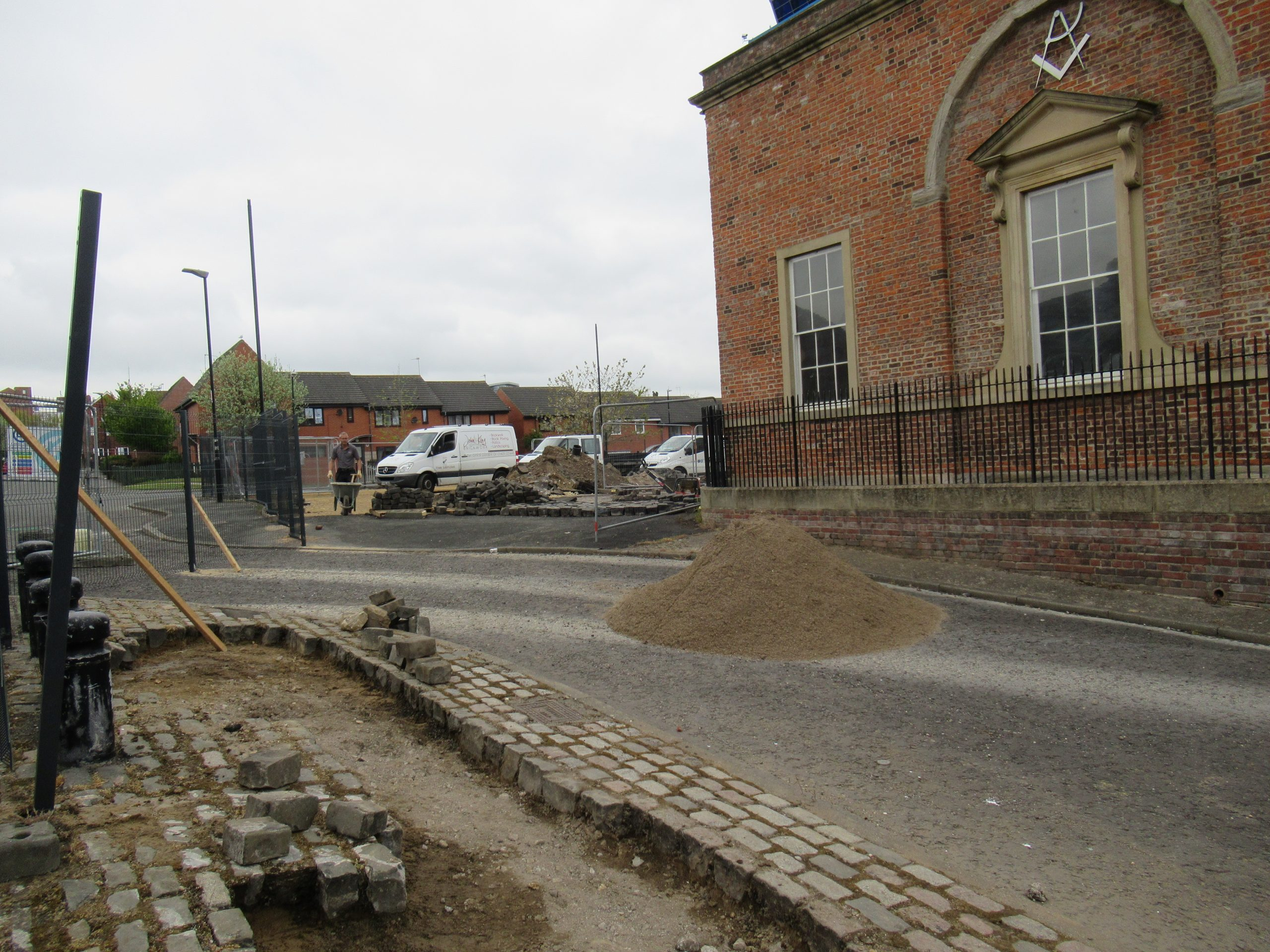 14th May 2021 relaying and leveling of cobbles plus fencing
